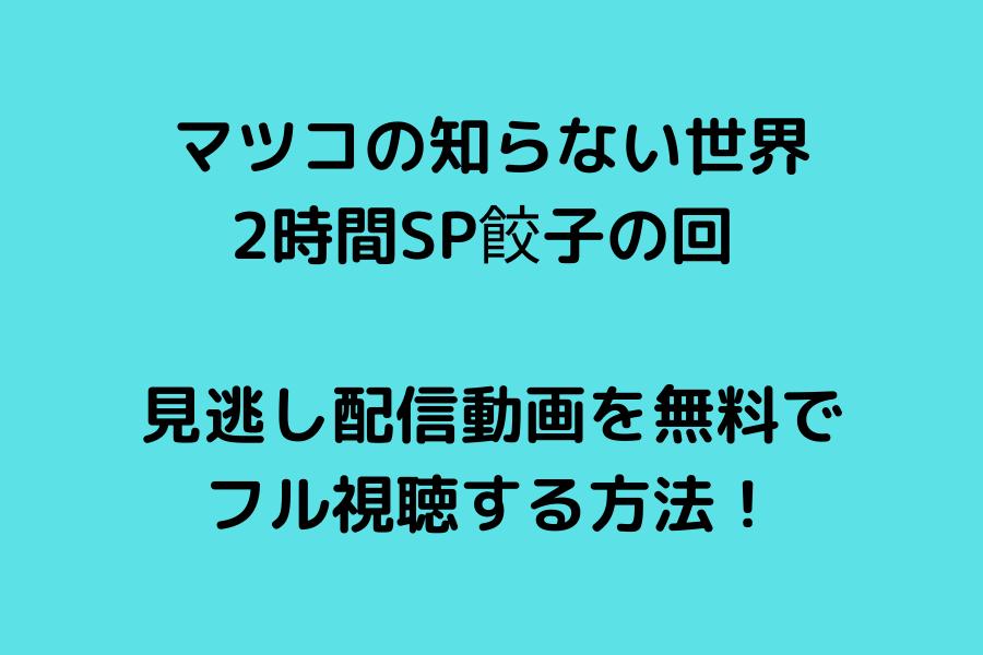 マツコの知らない世界の2時間SP餃子の回 見逃し配信動画を無料でフル視聴する方法!